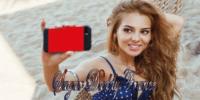 jeune fille prenant un selfie à la plage