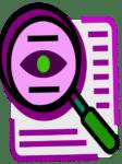 Icône de loupe sur papier écriture transparence